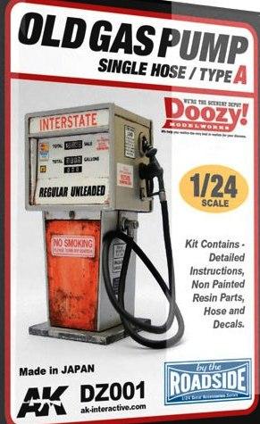 1//24 Scale Resin Old Gas Pump AK DZ001 Interstate Single Hose