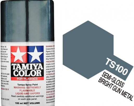 TAMIYA  TS-100 SEMI GLOSS BRIGHT GUN METAL  100ml