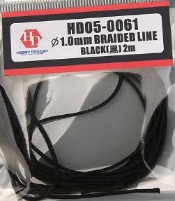HOBBY DESIGN – BRAIDED HOSE BLACK 1.0mm x 2M  HD05-0061