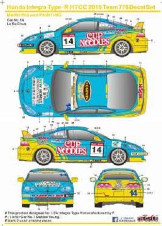 S.K DECALS – HONDA INTEGRA R HTCC 2015 TEAM 778 1/24  SK-24016
