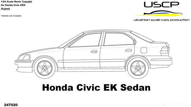 HONDA CIVIC EK SEDAN RESIN TRANSKIT  1/24  24T020