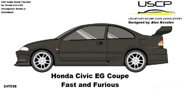 HONDA CIVIC EG COUPE – FAST AND FURIOUS  RESIN TRANSKIT  1/24  24T038
