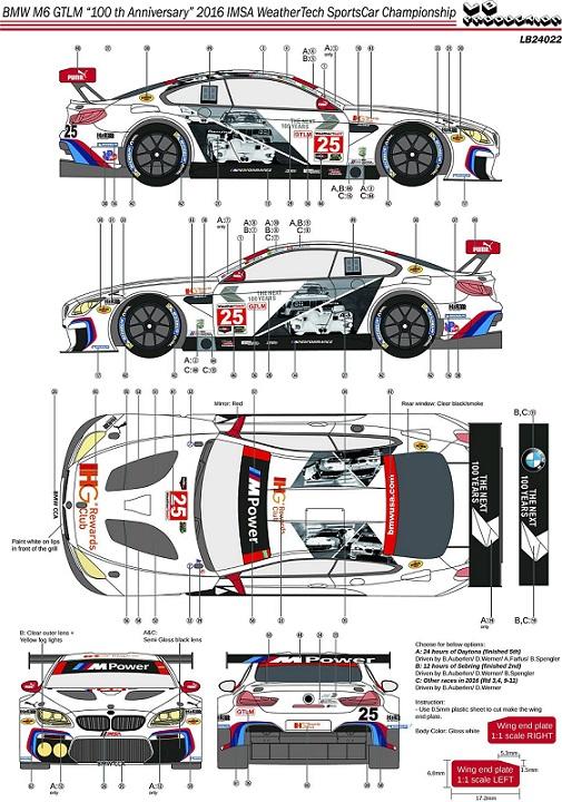 "LB PRODUCTION – BMW M6 GTLM ""100th ANNIVERSARY"" 2016 IMSA 1/24  LB24022"