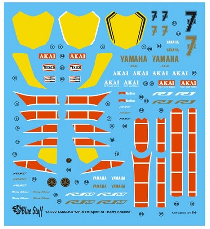 BLUE STUFF – YAMAHA YZF-R1M BARRY SHEENE  1/12  12-022